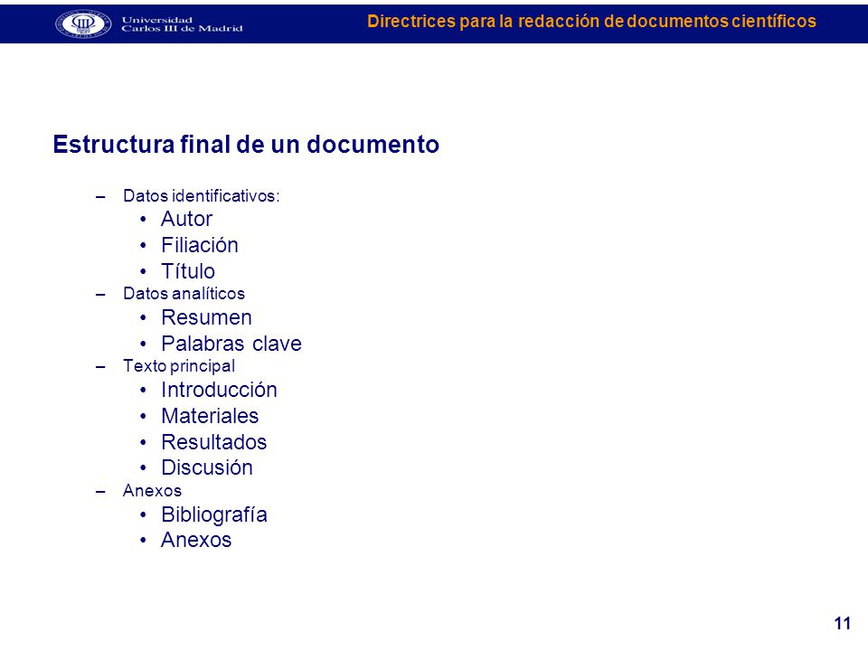 Estructura final de un documento
