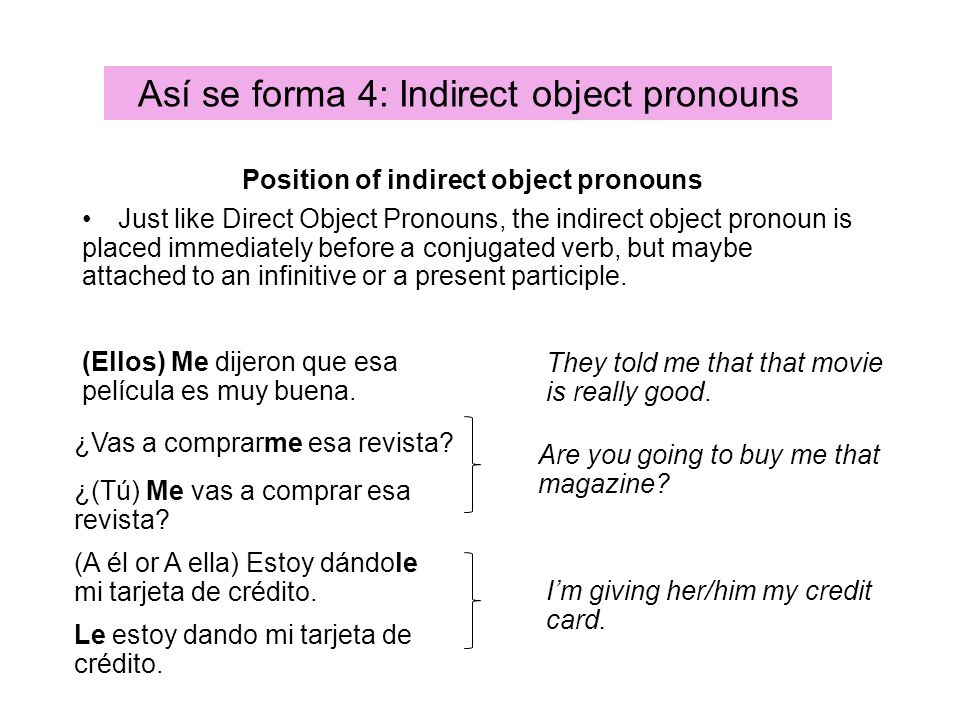 Position of indirect object pronouns