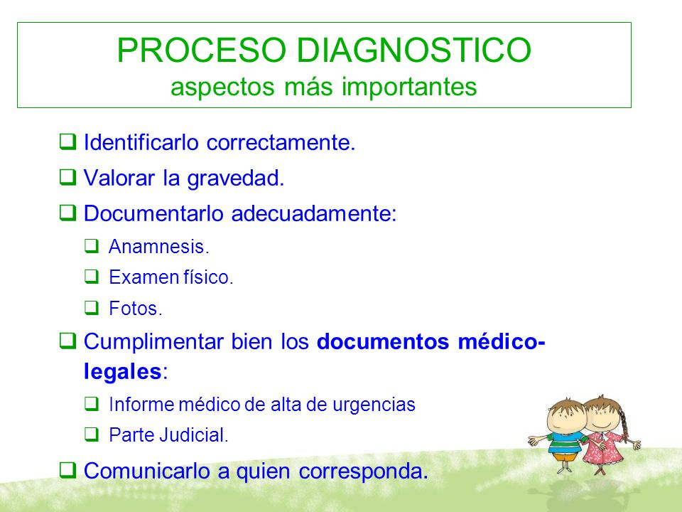 PROCESO DIAGNOSTICO aspectos más importantes