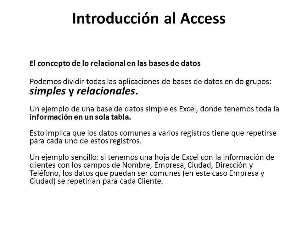 Introducción al Access