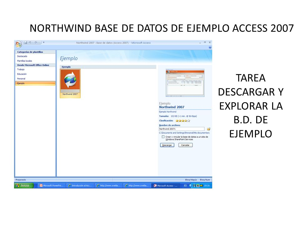 NORTHWIND BASE DE DATOS DE EJEMPLO ACCESS 2007