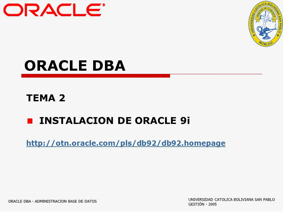 ORACLE DBA ADMINISTRACION DE BASE DE DATOS - ppt descargar