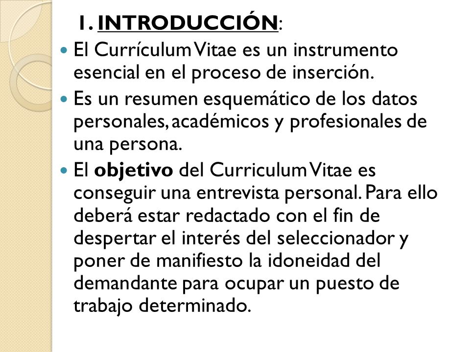 Curriculum Vitae U Hojade Vida Ppt Video Online Descargar