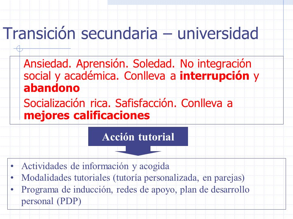 Transición secundaria – universidad