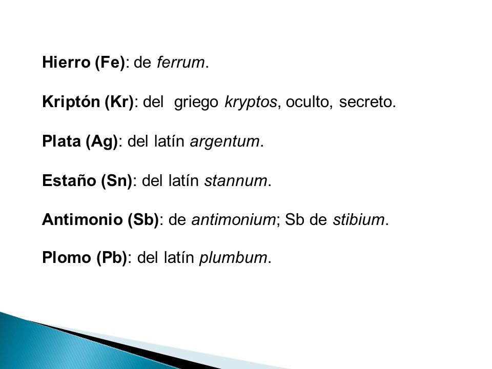 origen de los nombres de los elementos de la tabla