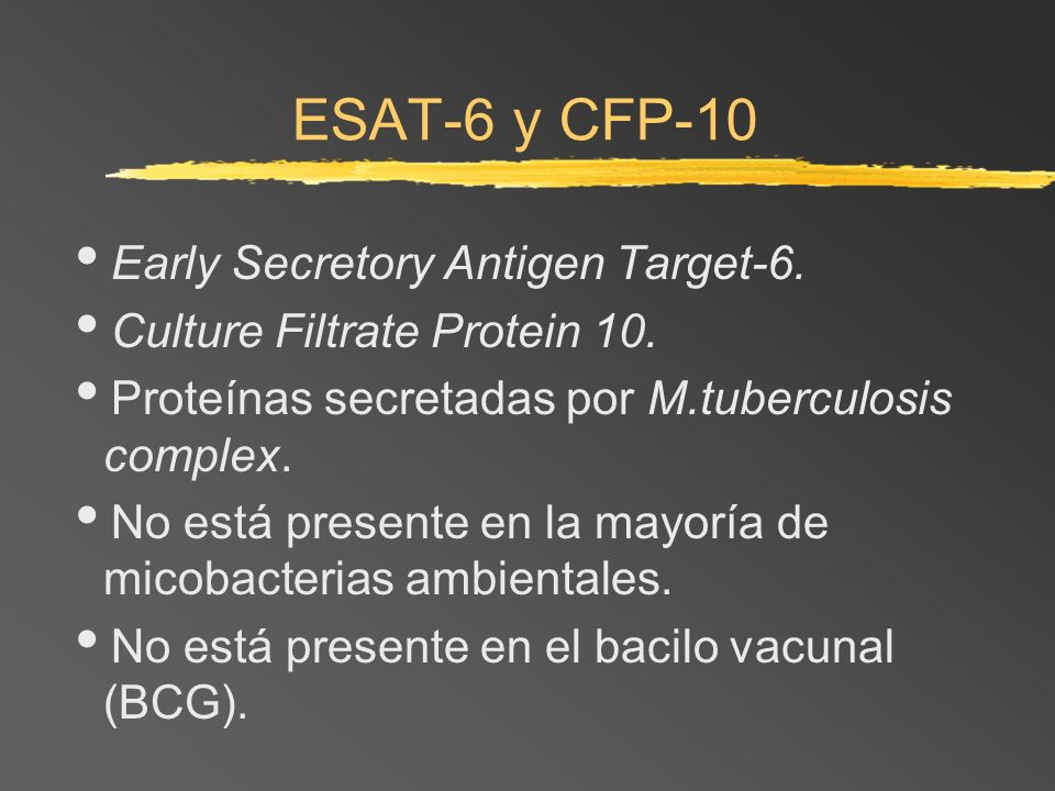 ESAT-6 y CFP-10 Early Secretory Antigen Target-6.