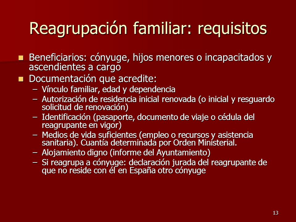 Reagrupación familiar: requisitos