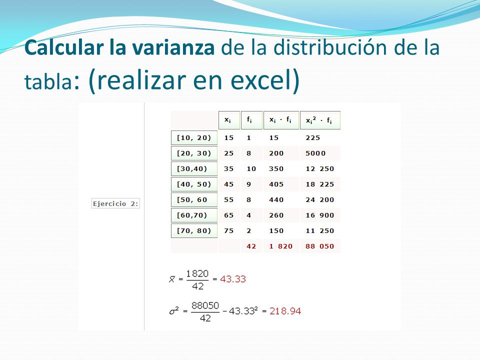 Como calcular la varianza