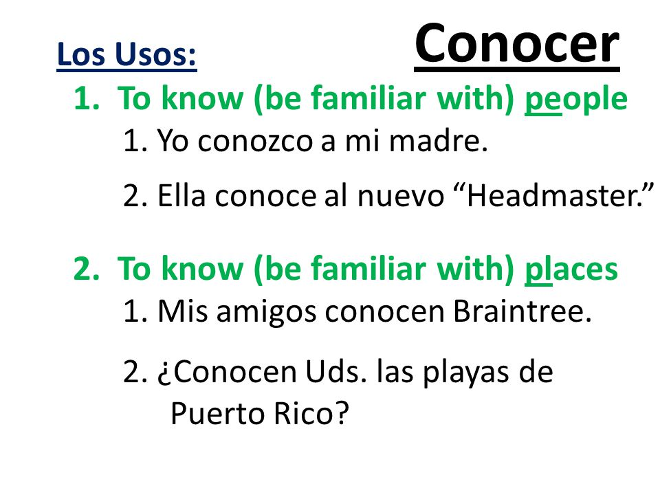 Conocer Los Usos: 1. To know (be familiar with) people