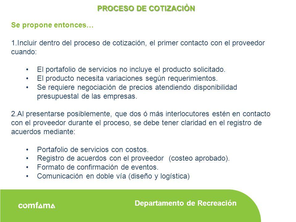 proceso de cotizacin se propone entonces incluir dentro del proceso de cotizacin el primer
