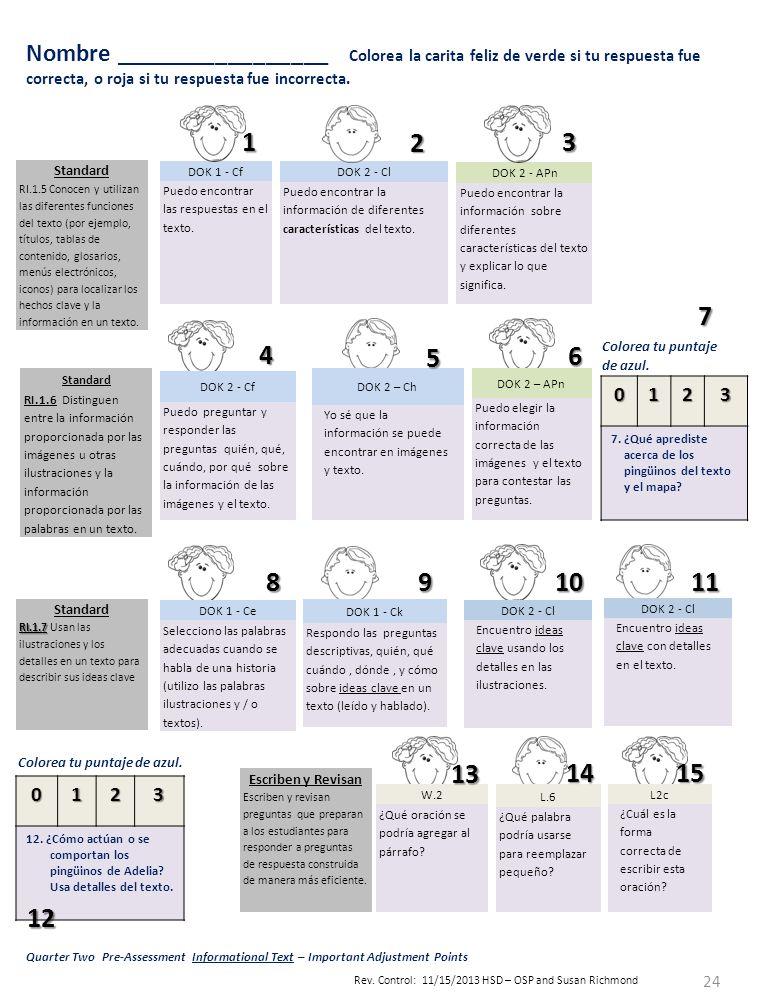 Spanish Pre-Assessment for Quarter 2 Reading Informational Text ...
