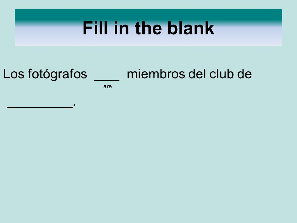 Fill in the blank Los fotógrafos miembros del club de are .