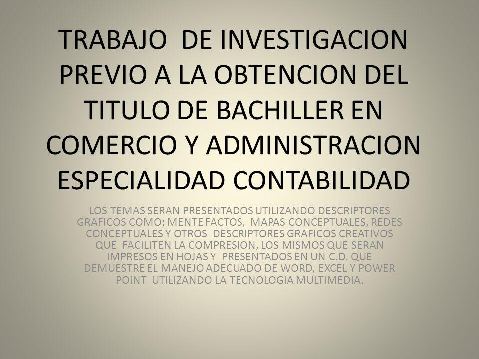 TRABAJO DE INVESTIGACION PREVIO A LA OBTENCION DEL TITULO DE ...