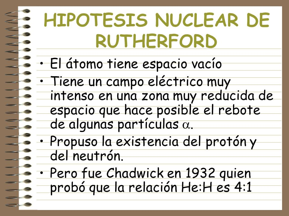 HIPOTESIS NUCLEAR DE RUTHERFORD