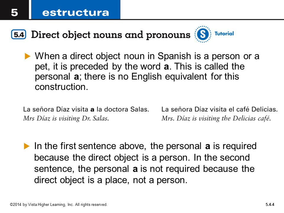 When a direct object noun in Spanish is a person or a pet, it is preceded by the word a. This is called the personal a; there is no English equivalent for this construction.