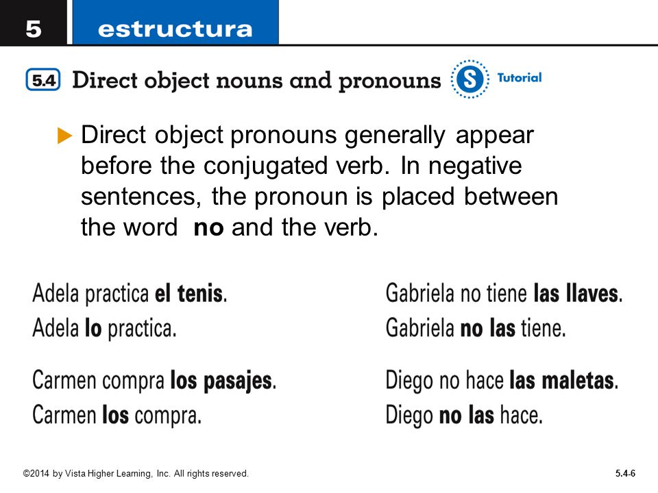 Direct object pronouns generally appear before the conjugated verb