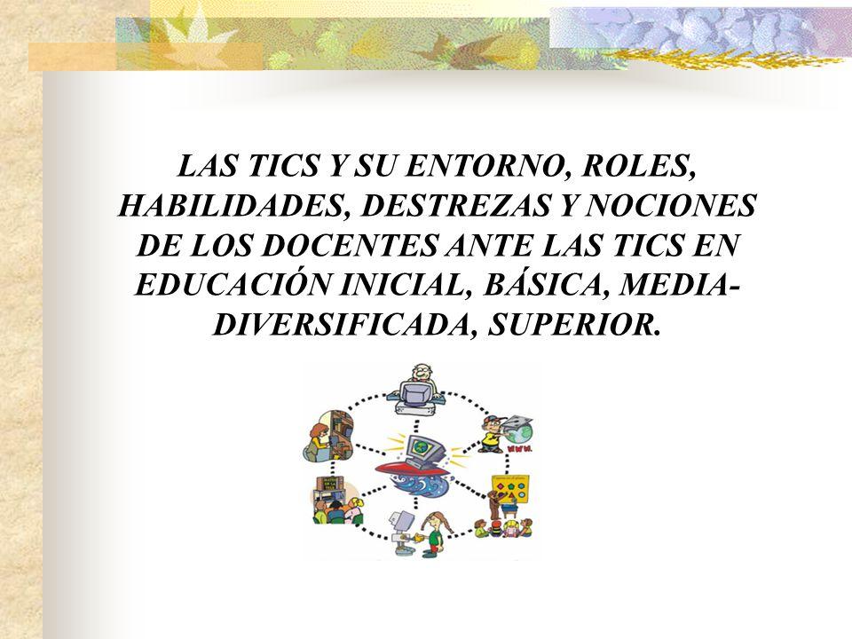 LAS TICS Y SU ENTORNO, ROLES, HABILIDADES, DESTREZAS Y NOCIONES DE ...