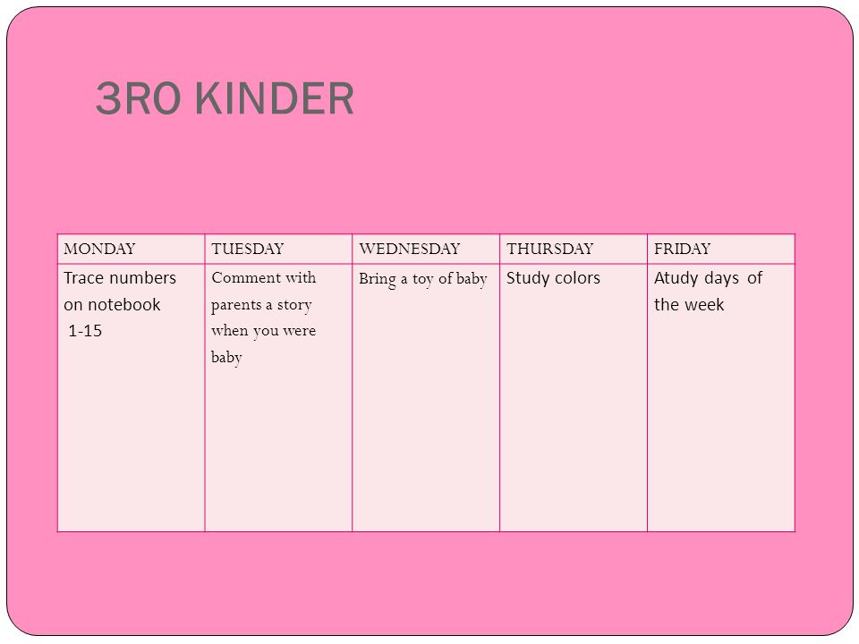 3RO KINDER MONDAY TUESDAY WEDNESDAY THURSDAY FRIDAY