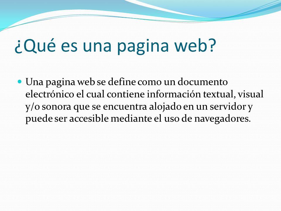 que es una pagina web