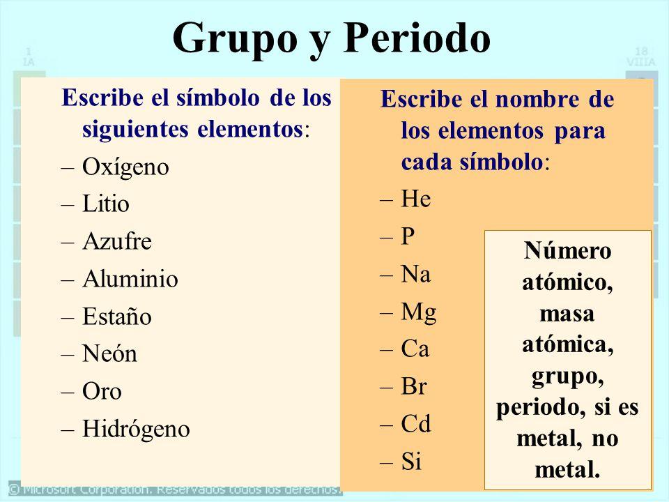 Best que es un grupo o periodo en la tabla periodica image collection nmero atmico masa atmica grupo periodo si es metal no metal urtaz Gallery