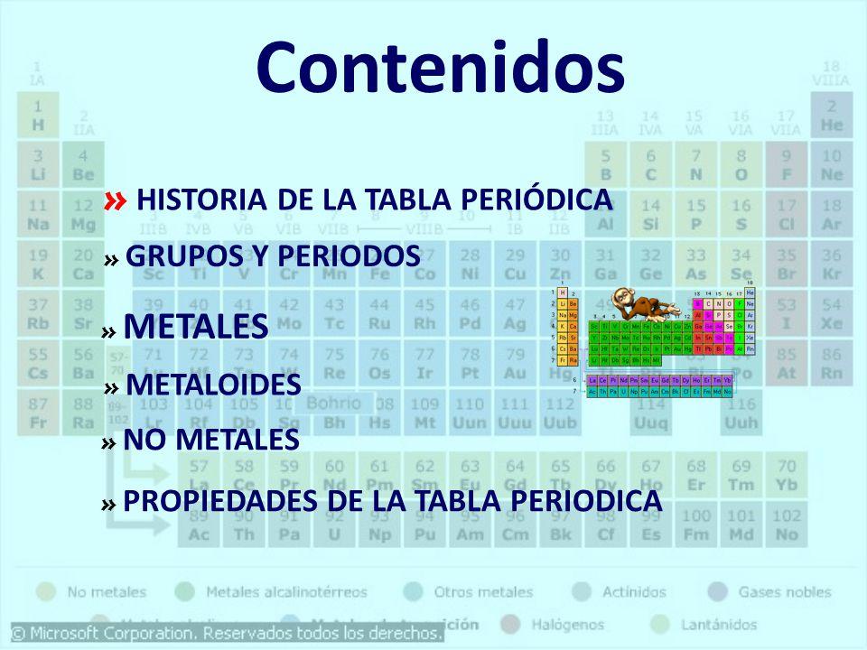 Qumica general tabla periodica ppt descargar contenidos historia de la tabla peridica grupos y periodos metales urtaz Images