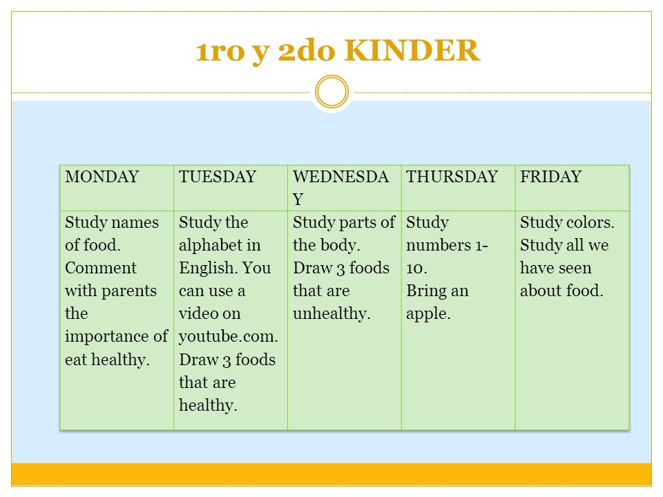 1ro y 2do KINDER MONDAY TUESDAY WEDNESDAY THURSDAY FRIDAY