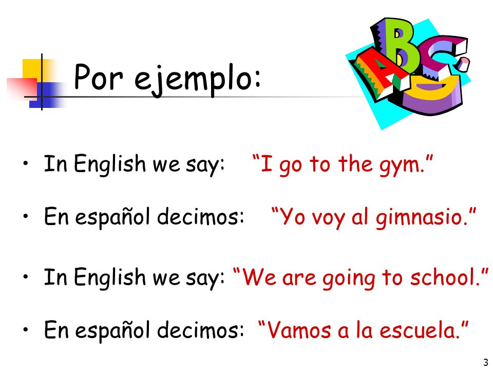 Por ejemplo: In English we say: I go to the gym.
