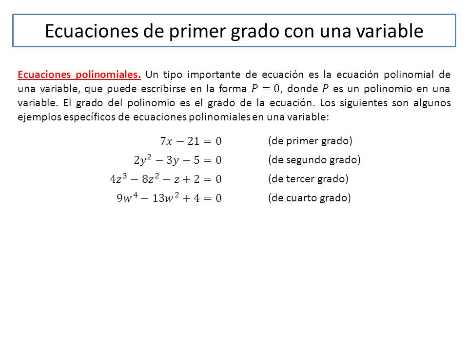 Tema: Ecuaciones de primer grado con una variable. - ppt video ...
