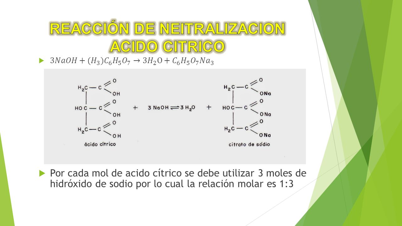REACCIÓN DE NEITRALIZACION ACIDO CITRICO