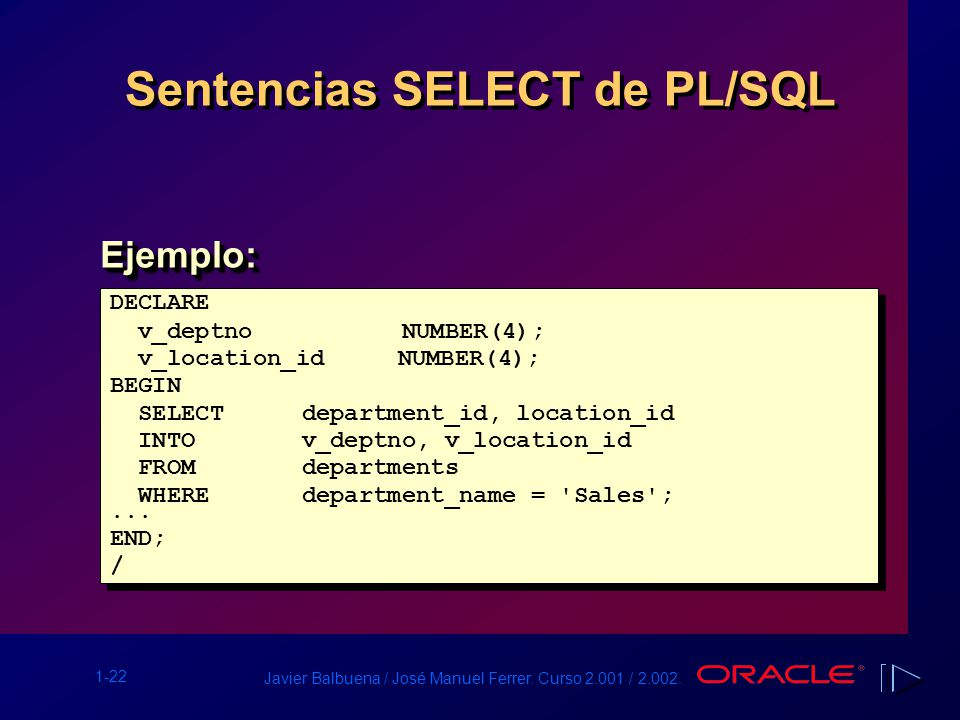 Visión General de PL/SQL - ppt descargar