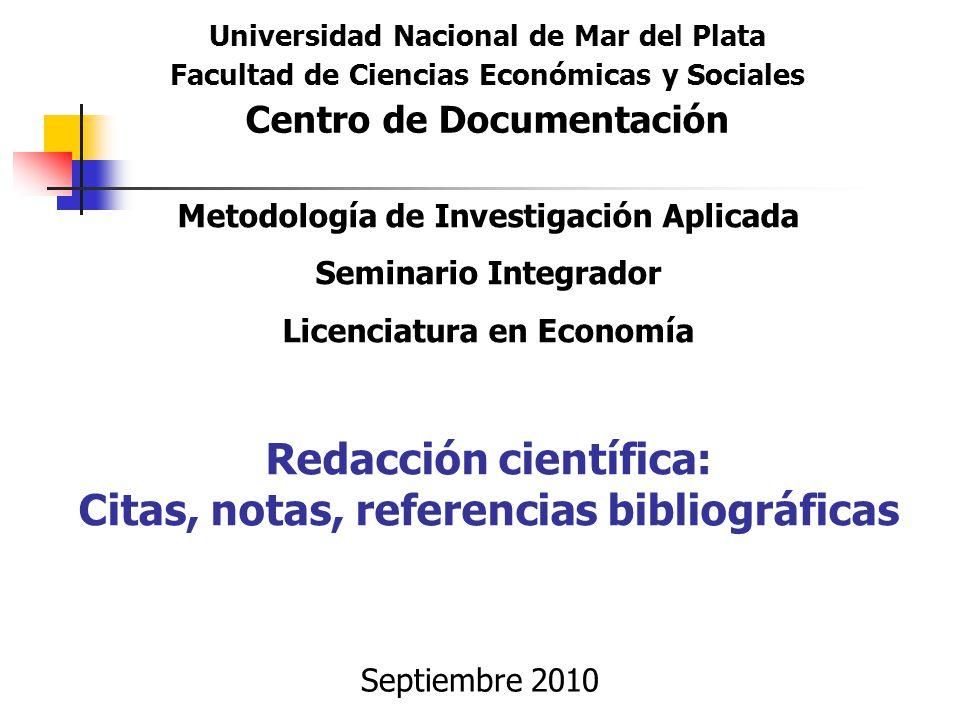 Redacción Científica Citas Notas Referencias
