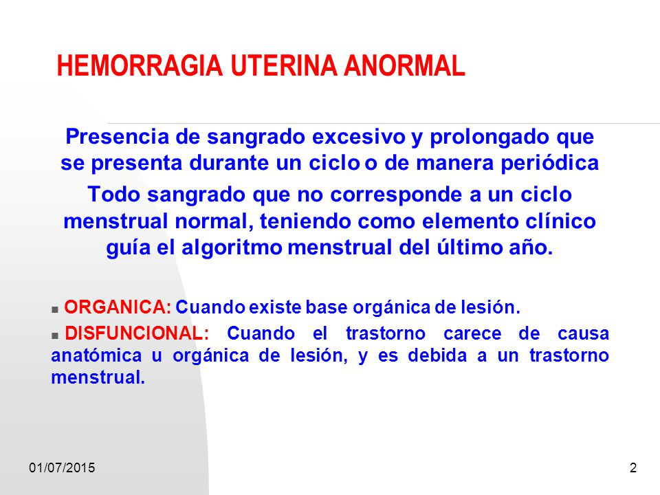 HEMORRAGIA UTERINA ANORMAL - ppt video online descargar
