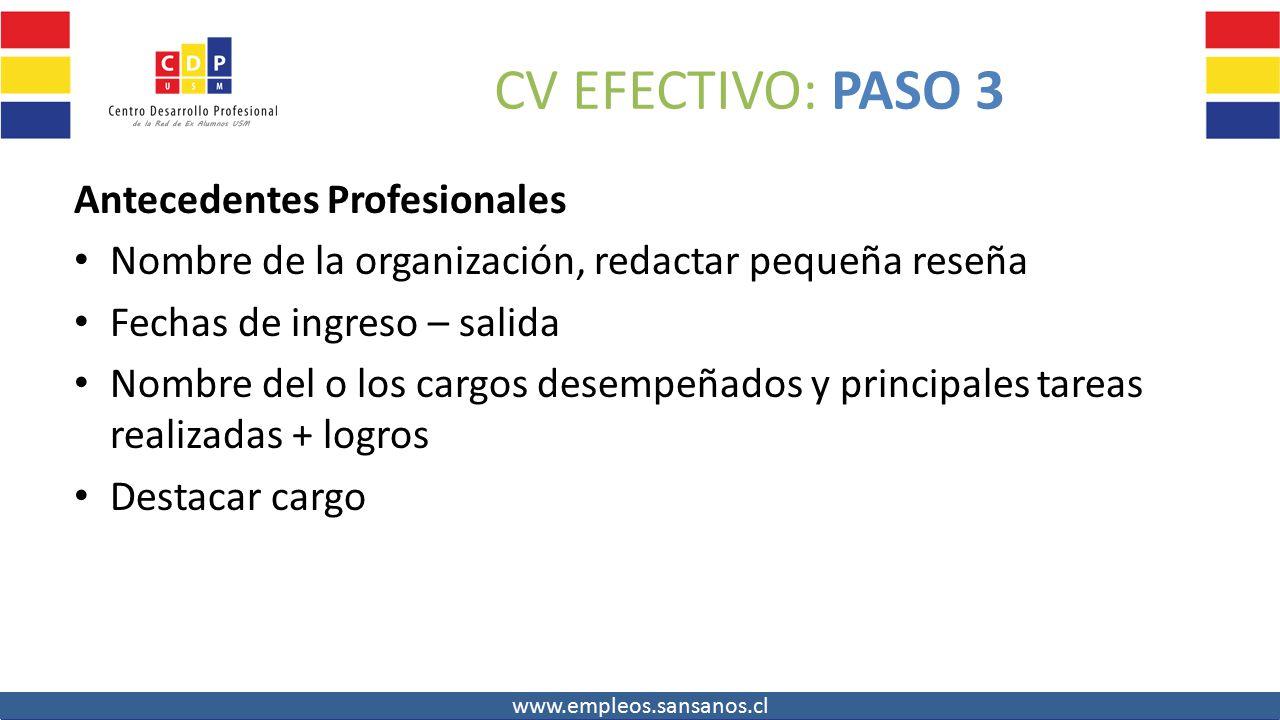 11 cv efectivo paso 3 antecedentes profesionales