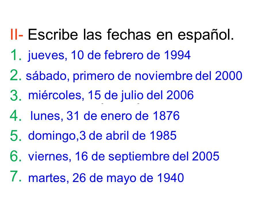 Fecha En Espanol