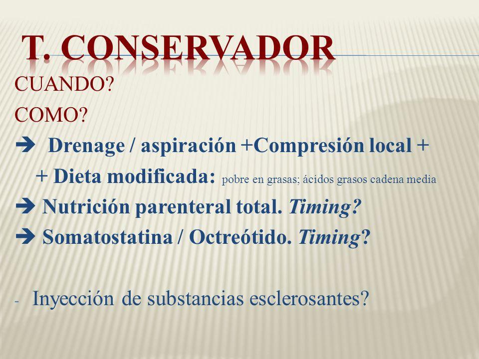 LÉSION DEL CONDUCTO TORÁCICO. ACTITUD CONSERVADORA VERSUS CIRUGÍA ...