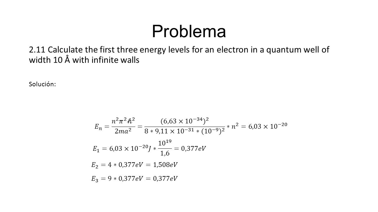 Problema 2.11 Calculate the first three energy levels for an electron in a quantum well of width 10 Å with infinite walls.