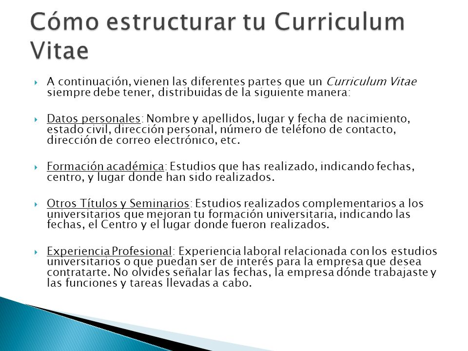 cmo estructurar tu curriculum vitae