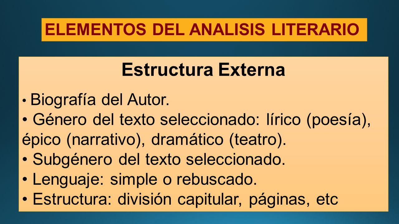 Análisis Literario Elementos Ppt Descargar