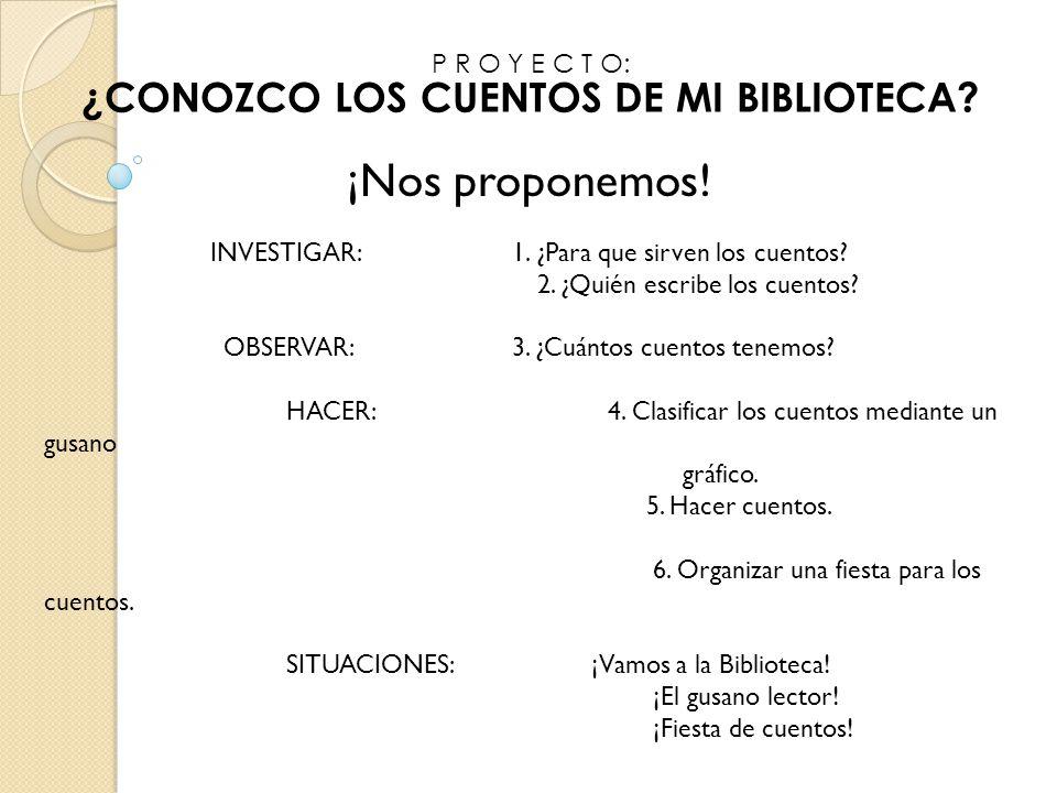 P R O Y E C T O: ¿CONOZCO LOS CUENTOS DE MI BIBLIOTECA?