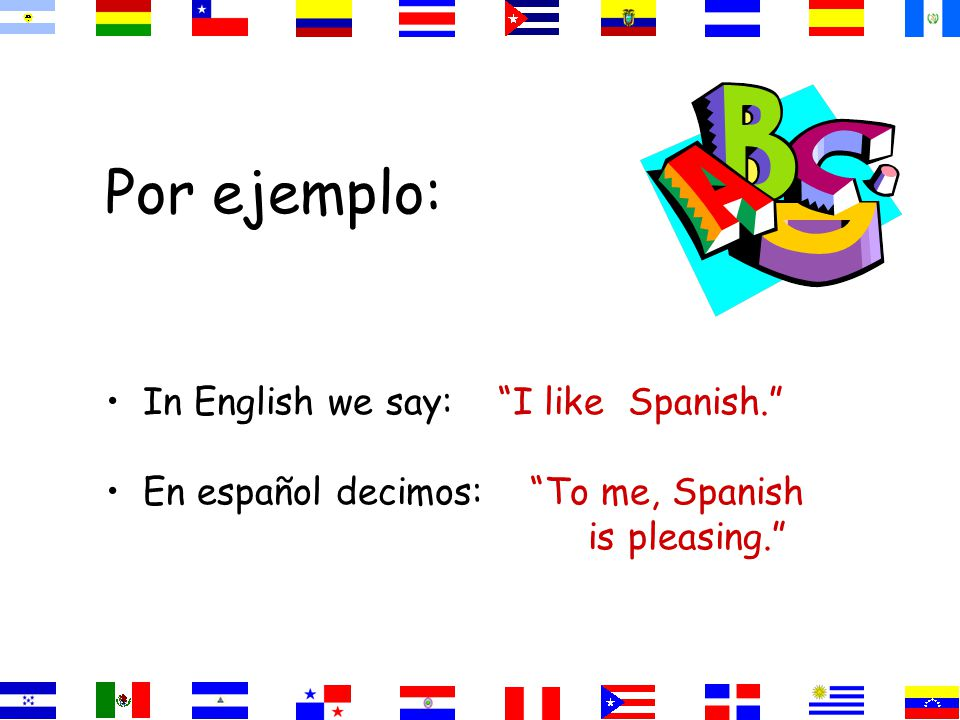Por ejemplo: In English we say: I like Spanish.
