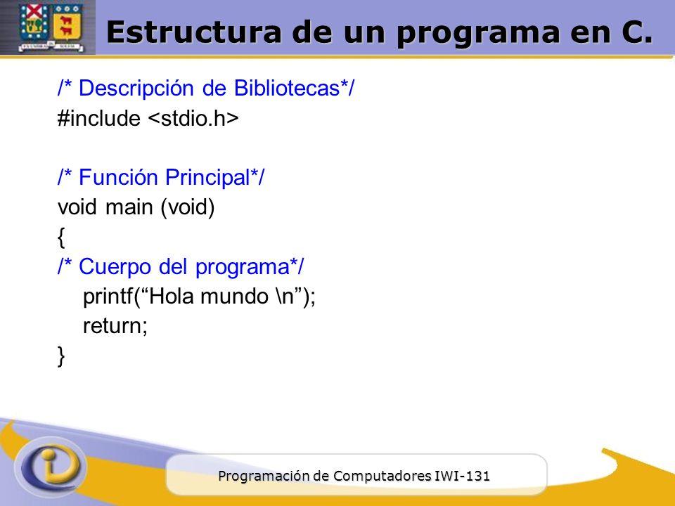 Estructura De Un Programa C Ppt Descargar