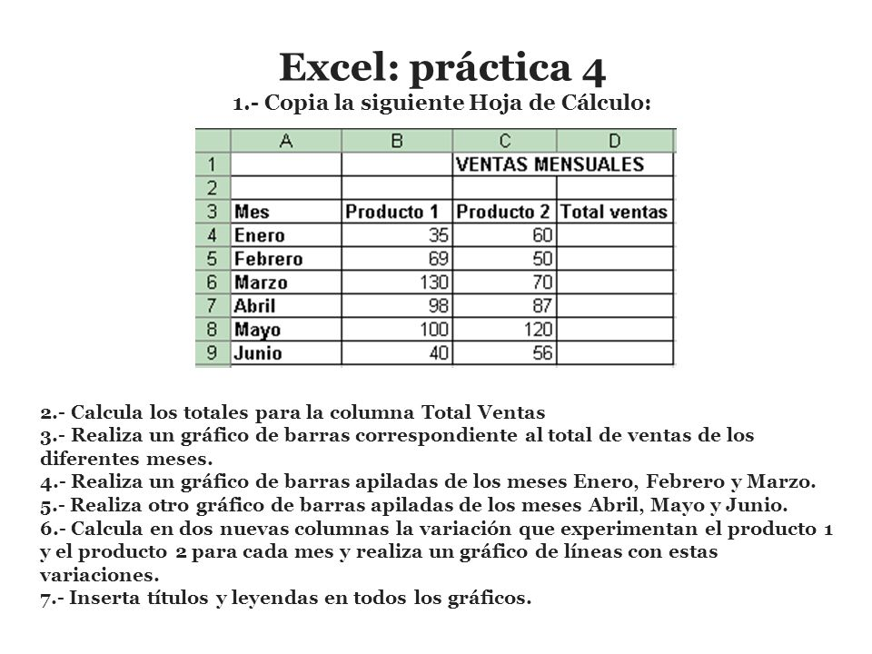 Excel: práctica Copia la siguiente Hoja de Cálculo: - ppt video ...
