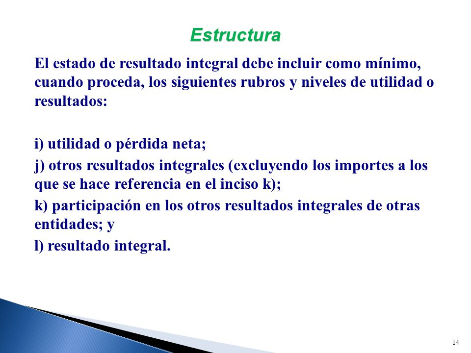 Normas De Información Financiera Estado De Resultado