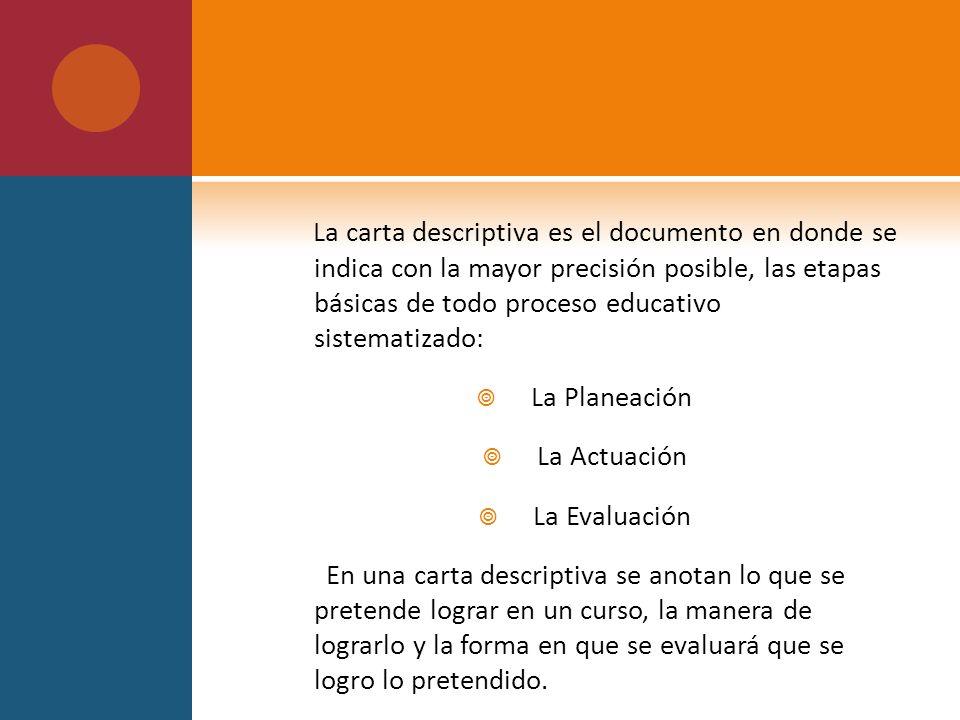 LA CARTA DESCRIPTIVA O PLAN DE CLASE - ppt video online descargar