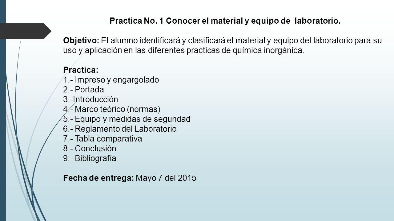 Practica No. 1 Conocer el material y equipo de laboratorio. - ppt ...