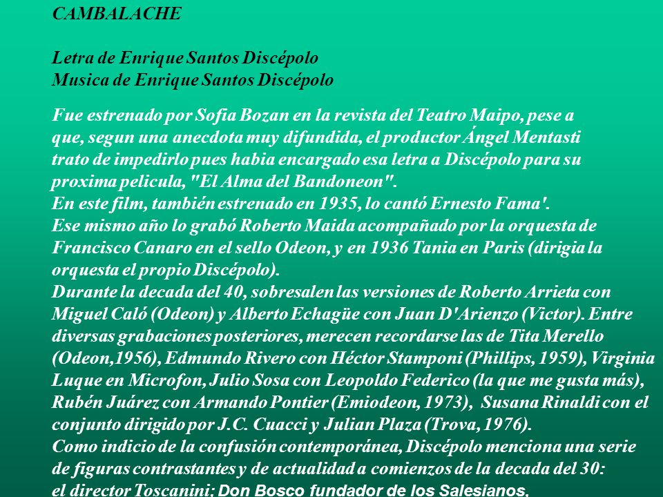 Letra De Enrique Santos Discépolo Musica De Enrique Santos Discépolo Ppt Descargar