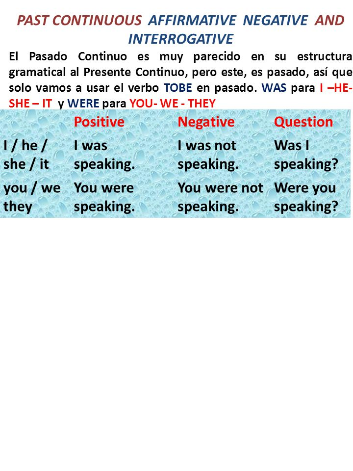 Past Continuous Affirmative Negative And Interrogative Ppt