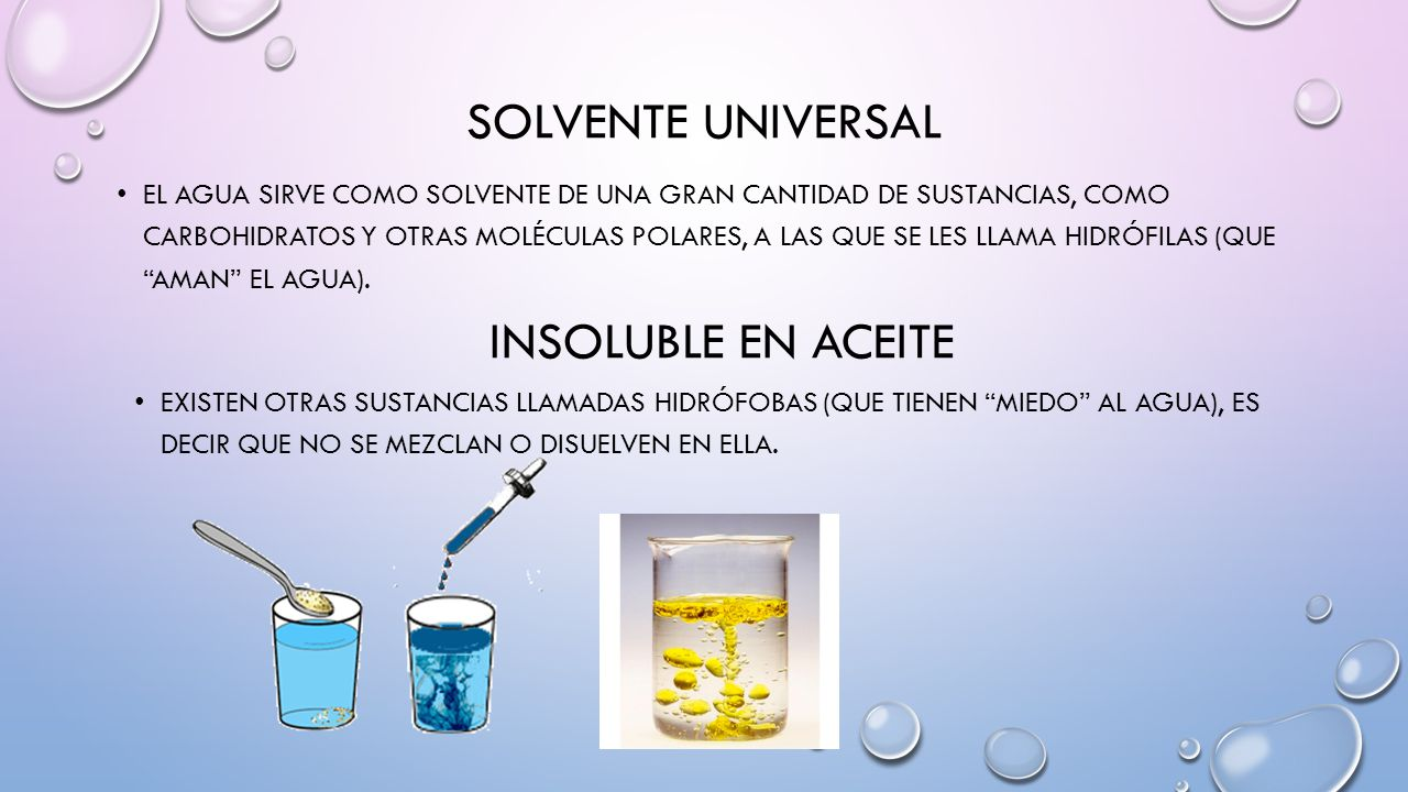 Solvente universal Insoluble en aceite