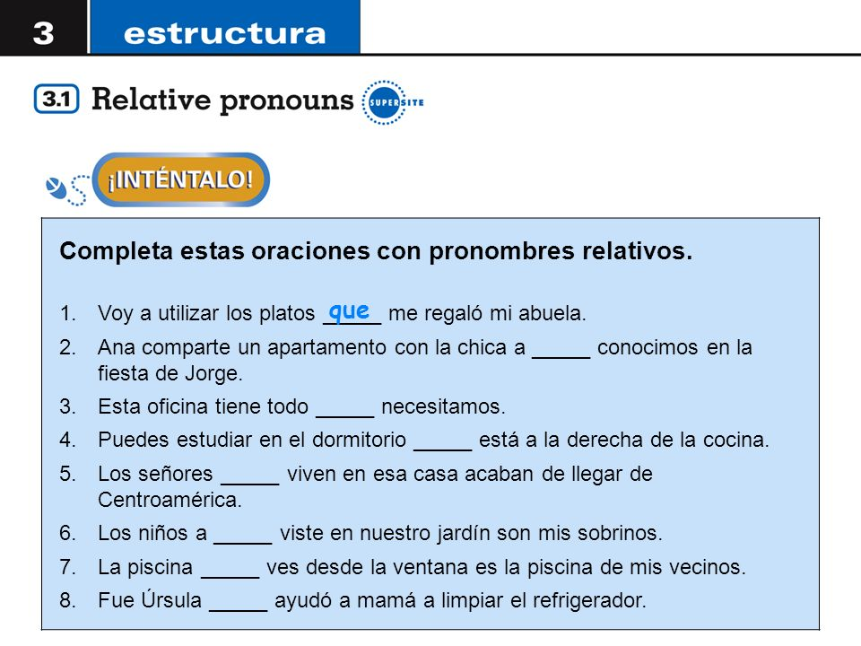 In Both English And Spanish Relative Pronouns Are Used To