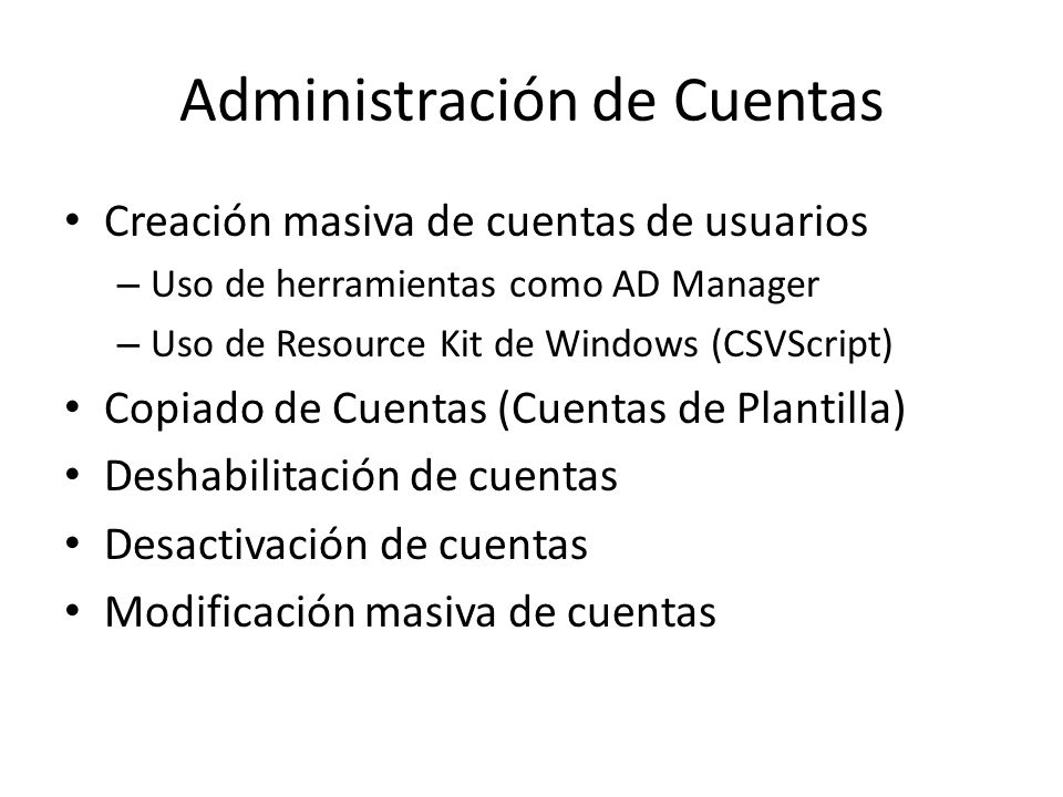 Actividades Administrativas Comunes en Active Directory - ppt descargar